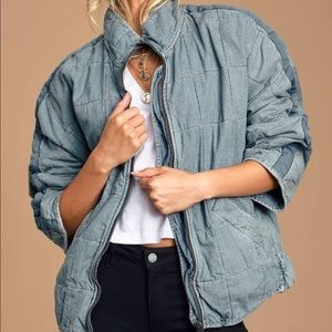 Dolman Quilted Denim Jacket by Free People